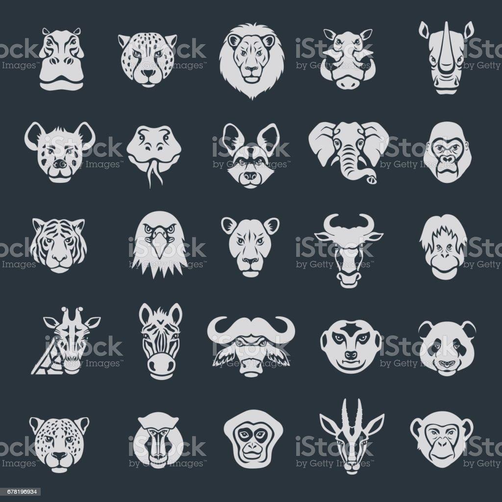 Ícones do rosto de animais selvagens - ilustração de arte em vetor