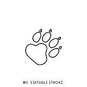 Wild Animal Footpath Line Icon with Editable Stroke and Pixel Perfect.