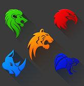Vector Illustration Of Wild Animal Head Tribal Symbol Flat Design