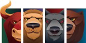 vector characters of 4 wild animals heads - bull, wolf, lion and bear…