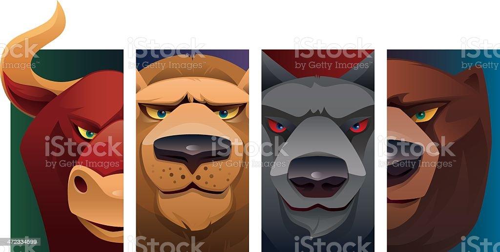 wild animal heads vector art illustration