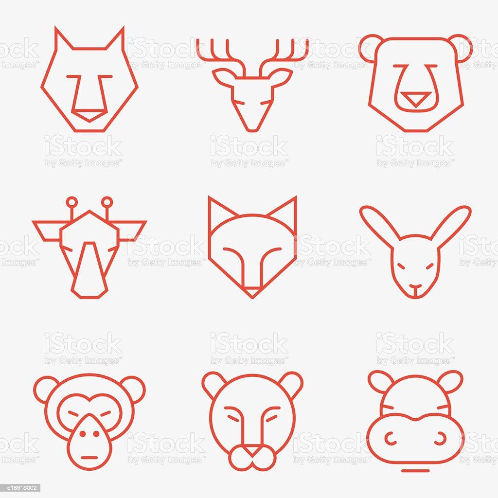 Wild animal icons vector art illustration