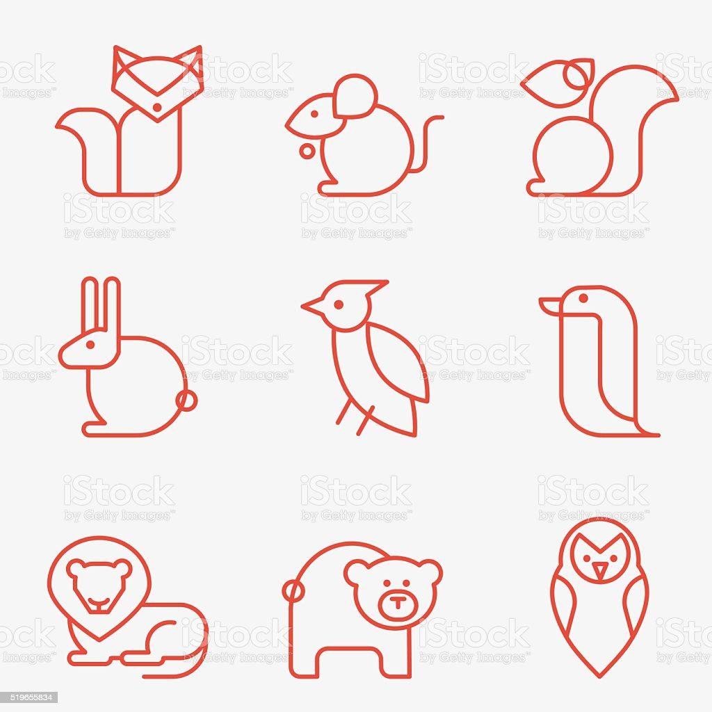 animal salvaje iconos - ilustración de arte vectorial