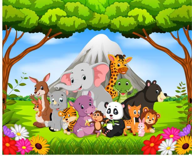 wildes tier im dschungel - giraffenhumor stock-grafiken, -clipart, -cartoons und -symbole