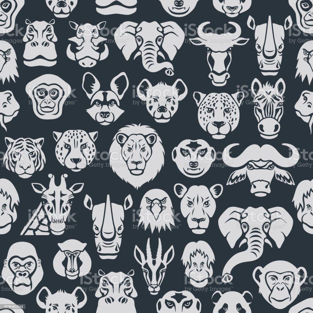 Padrão sem emenda de animais selvagens - ilustração de arte em vetor