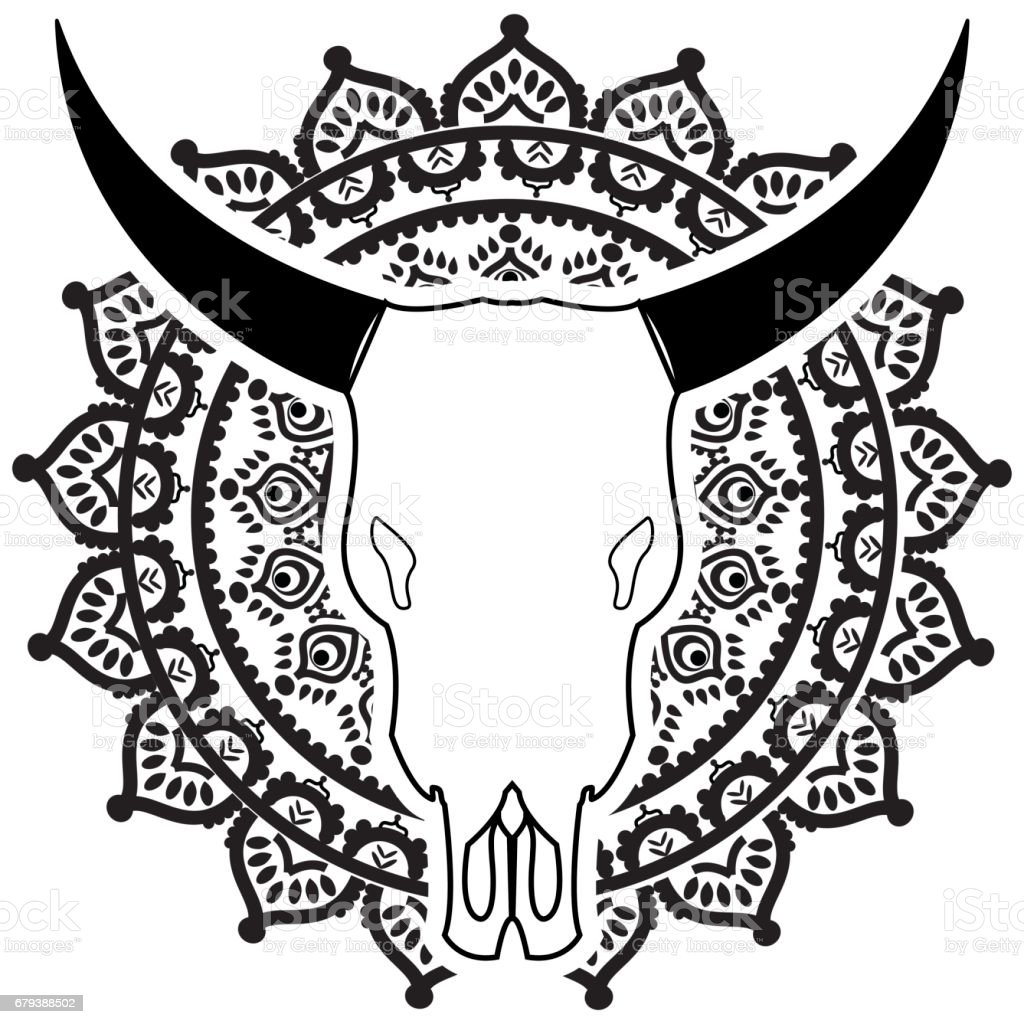 Wild Animal Skull In Black And White With Swirly Elements Inspired