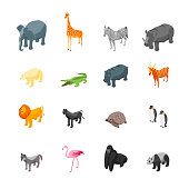 Wild Animals 3d Icons Set Isometric View Include of Lion, Giraffe, Elephant, Hippo, Crocodile and Monkey. Vector illustration