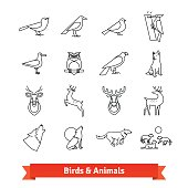 Wild animals and birds thin line art icons set. Wildlife zoology, hunting trophies. Linear style symbols isolated on white.
