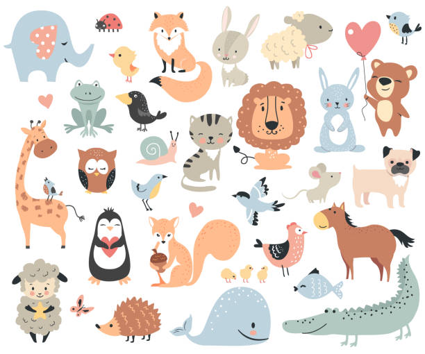 Wild animals and pets. Wild animals and pets. Perfect set for scrapbooking, baby shower, childish poster, tag, sticker kit. Vector illustration. baby animals stock illustrations