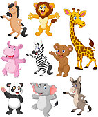Vector illustration of Wild animals cartoon collection set