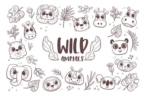 Wild Animals Doodle Background