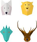 Wild animals flat icons
