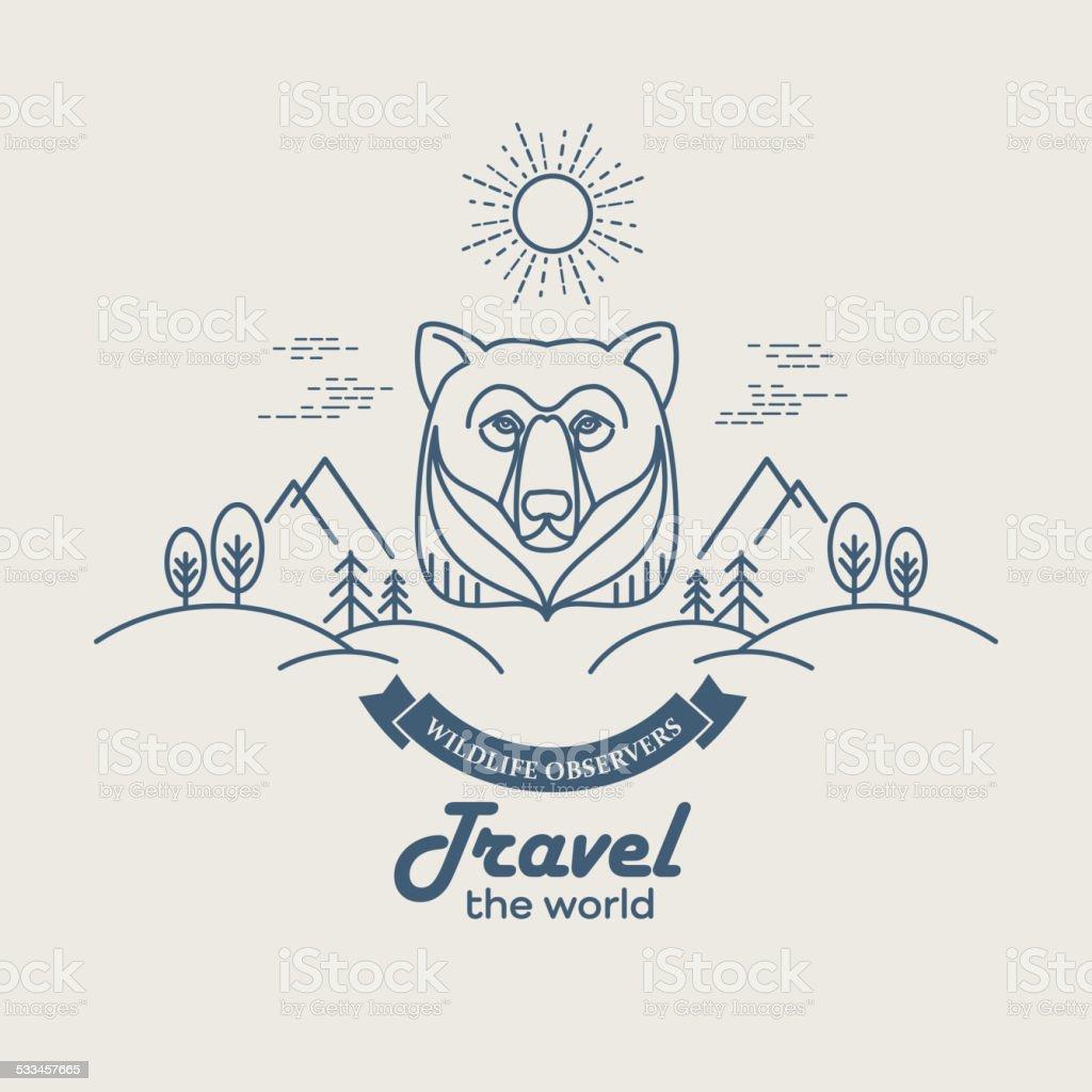 Wild animals. Flat line illustration vector art illustration