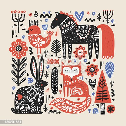 istock Wild animals flat vector illustration 1159291861
