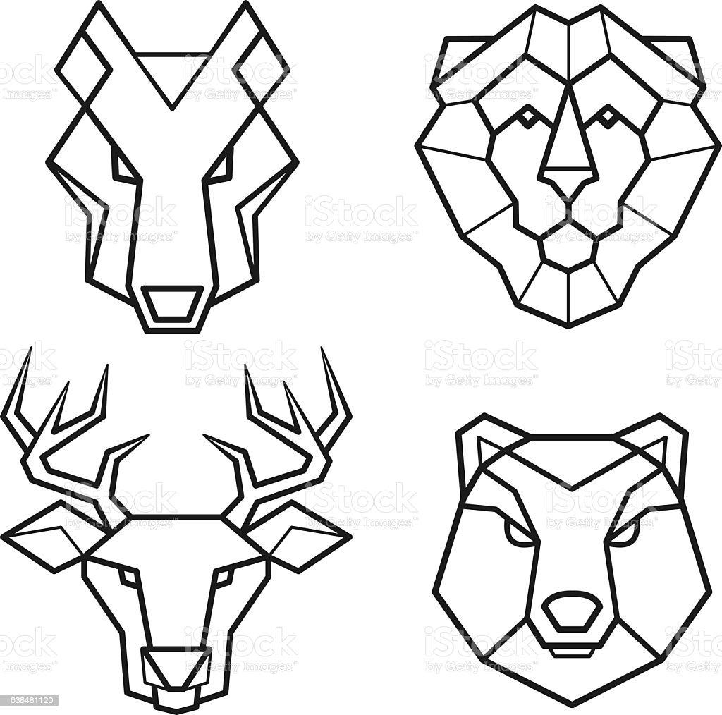 Wild animals geometric head vector set vector art illustration