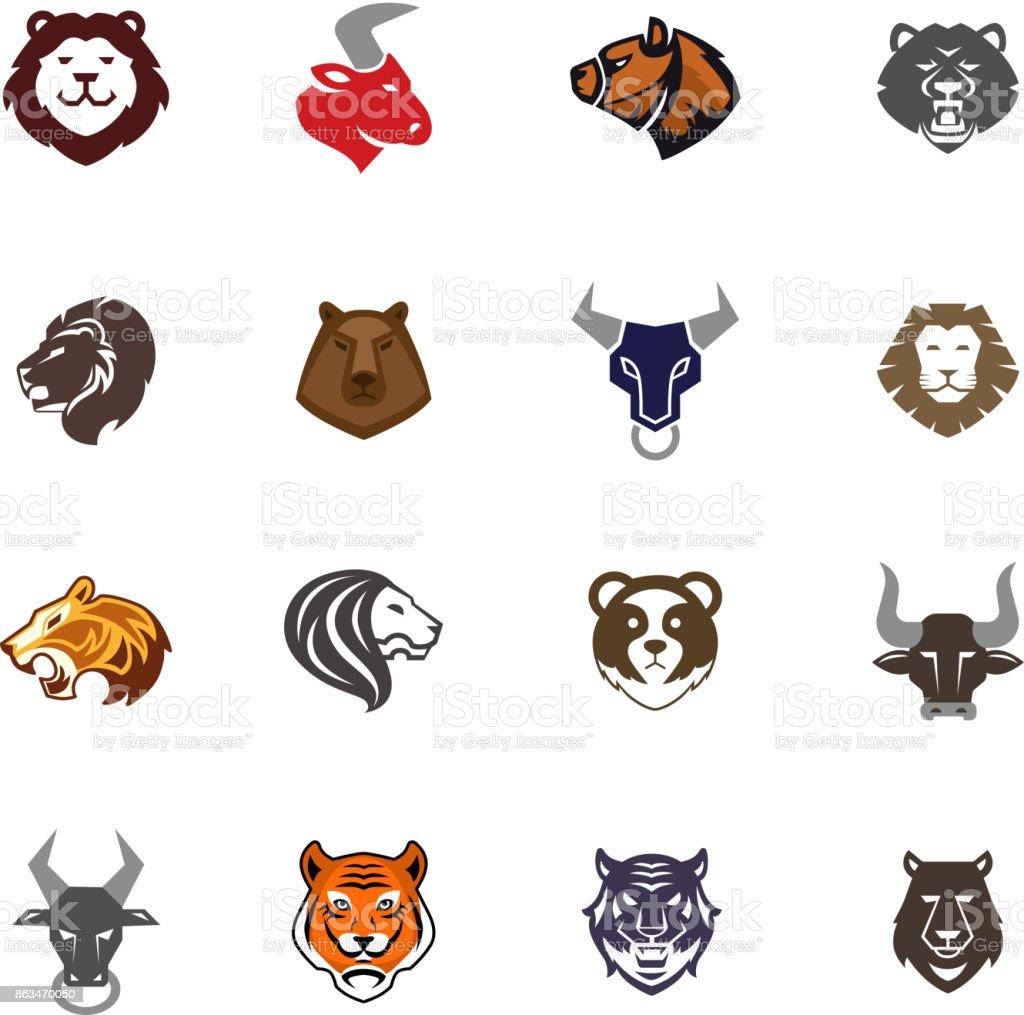 Wilde Tiere Kopf Abzeichen Etiketten Design Gesicht Qualität