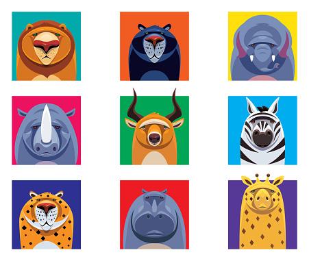 wild animals heads