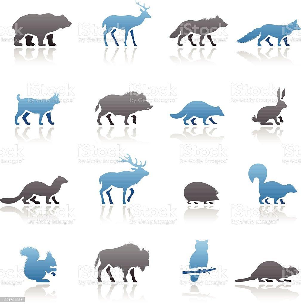 Wild Animals Icon Set vector art illustration
