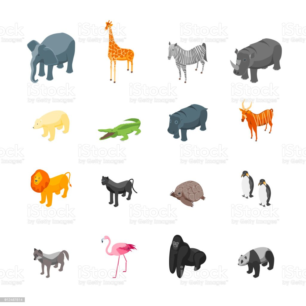 Wild Animals Icons Set Isometric View. Vector royalty-free wild animals icons set isometric view vector stock illustration - download image now