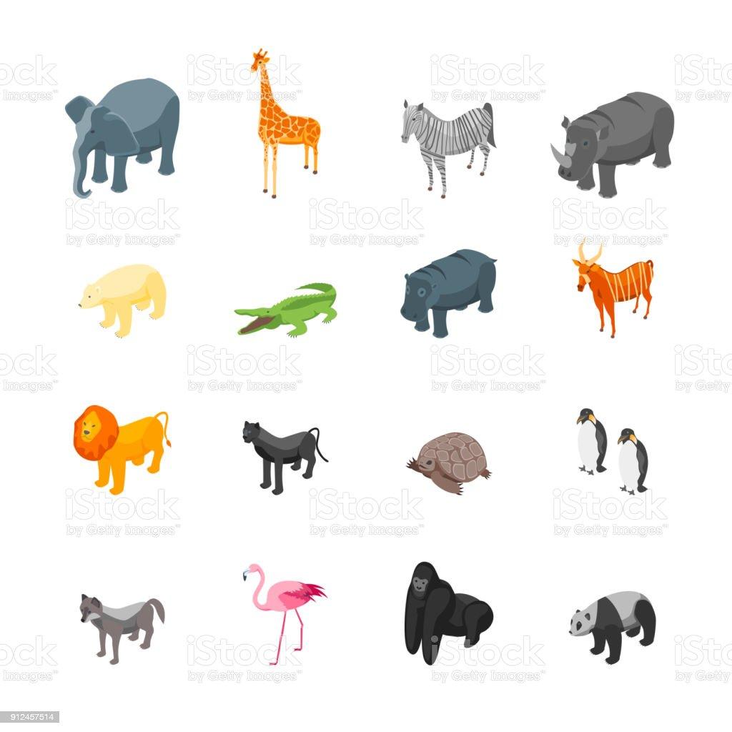 野生動物のアイコンでは、等角投影ビューを設定します。ベクトル - 3D画像のロイヤリティフリーベクトルアート