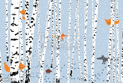 Vector image of the birch grove in cold season.
