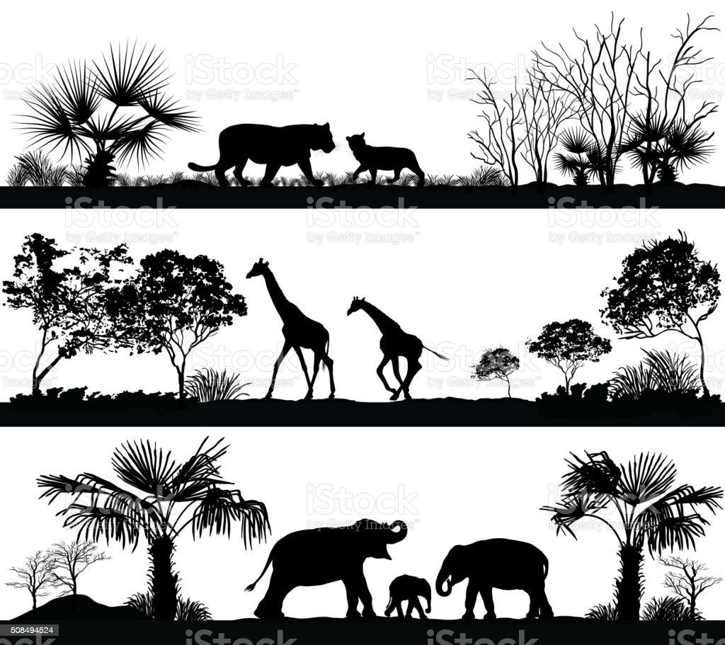 Animali selvatici (Giraffa, Elefante, leone) in habitat diversi - illustrazione arte vettoriale