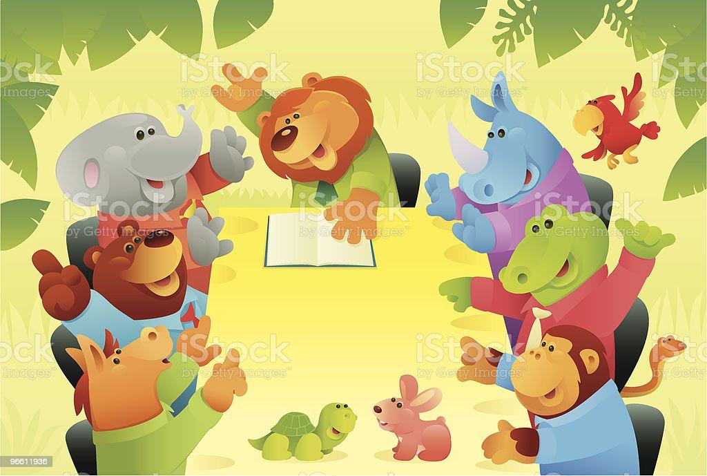 Wilde Tiere aus Dschungel Vorstandssitzung - Lizenzfrei Angesicht zu Angesicht Vektorgrafik