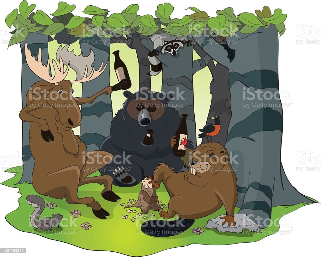 Wild Animals in the Forest vector art illustration