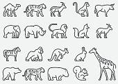 Wild Animals Line Icons