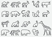 Wild Animals Line Icons