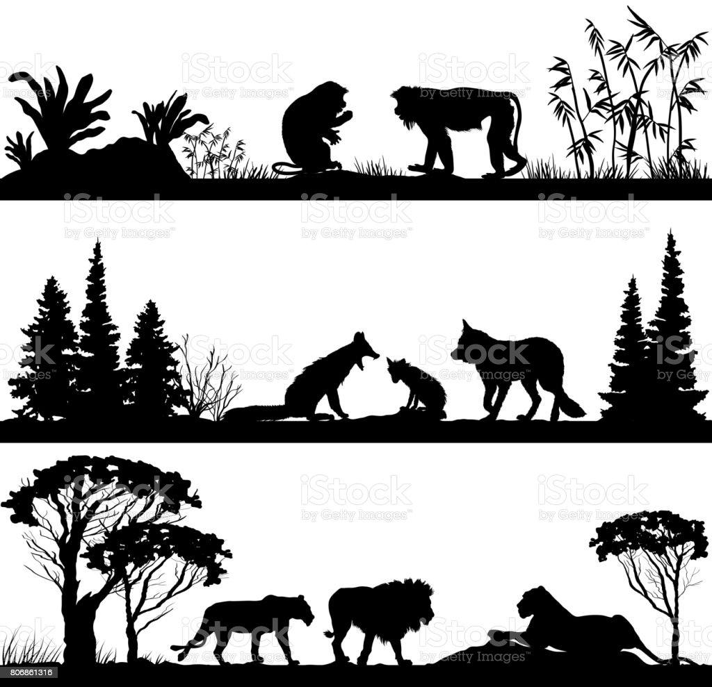野生動物のサル、キツネ、ライオン ベクターアートイラスト