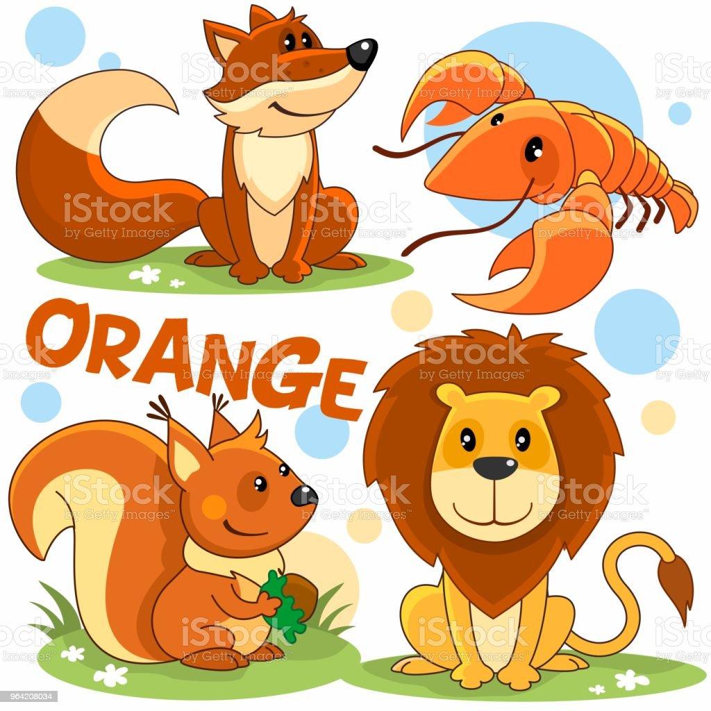 オレンジ色の野生動物 たてがみのベクターアート素材や画像を
