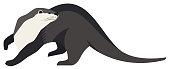 Wild animals Otter Vector illustration set