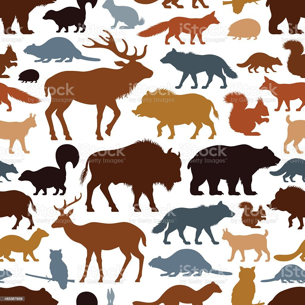 Wild Animals Pattern vector art illustration