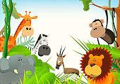 istock Wild Animals Postcard Background 164455747
