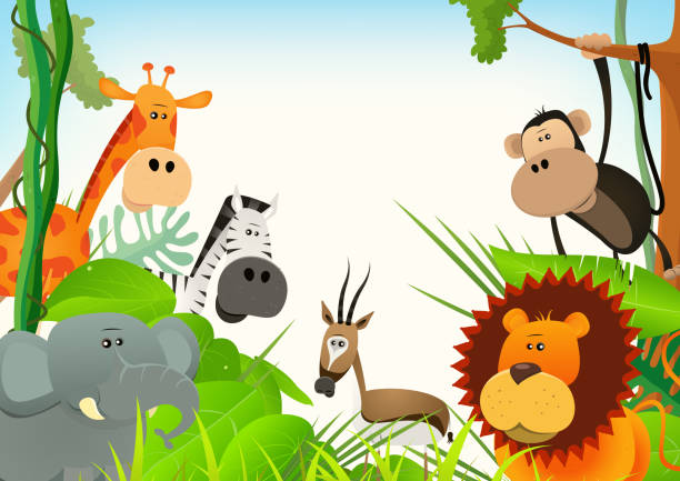 stockillustraties, clipart, cartoons en iconen met wild animals postcard background - grassenfamilie