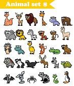 Set of cute cartoon wild animals