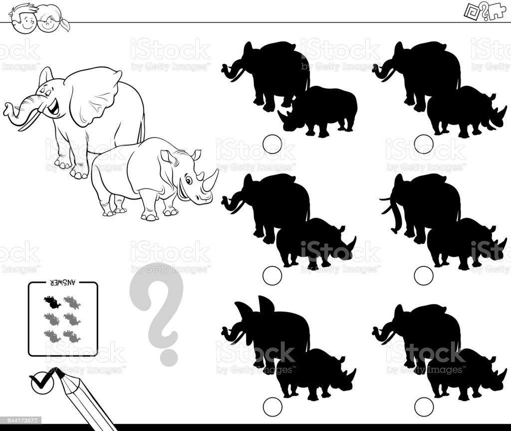 Vahsi Hayvanlar Golge Oyunu Boyama Kitabi Stok Vektor Sanati