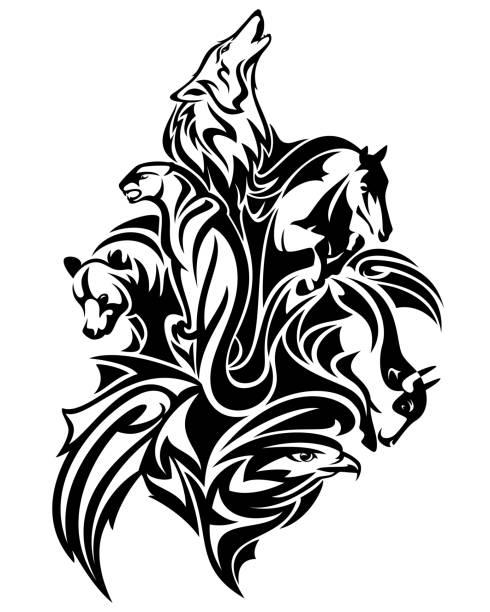 animales salvajes espíritus vector negro diseño - ilustración de arte vectorial