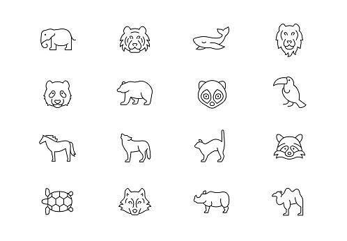 Wild animals thin line vector icons. Editable stroke