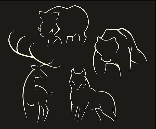 wilde tiere - hundehaarbögen stock-grafiken, -clipart, -cartoons und -symbole