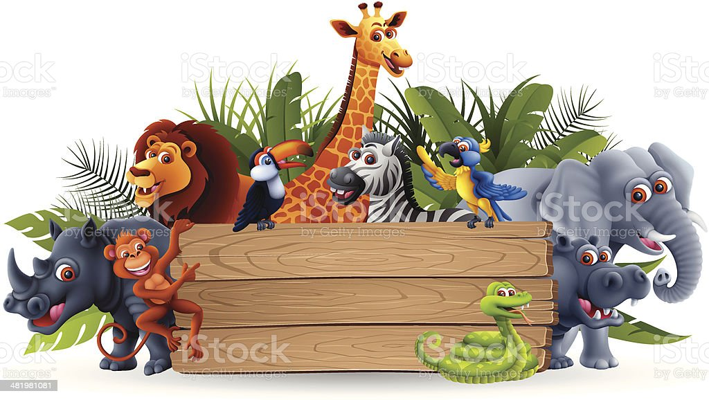 Wild Animals with Banner vector art illustration
