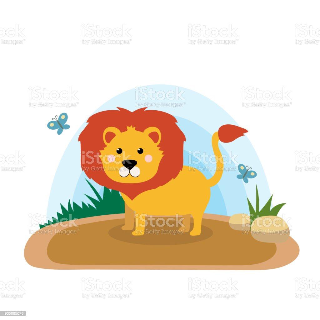 ライオンのかわいい漫画のベクトル イラストの風景と野生動物 - まぶしい