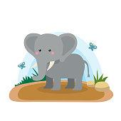 Wild animals with landscape - cute cartoon vector illustration of elephant