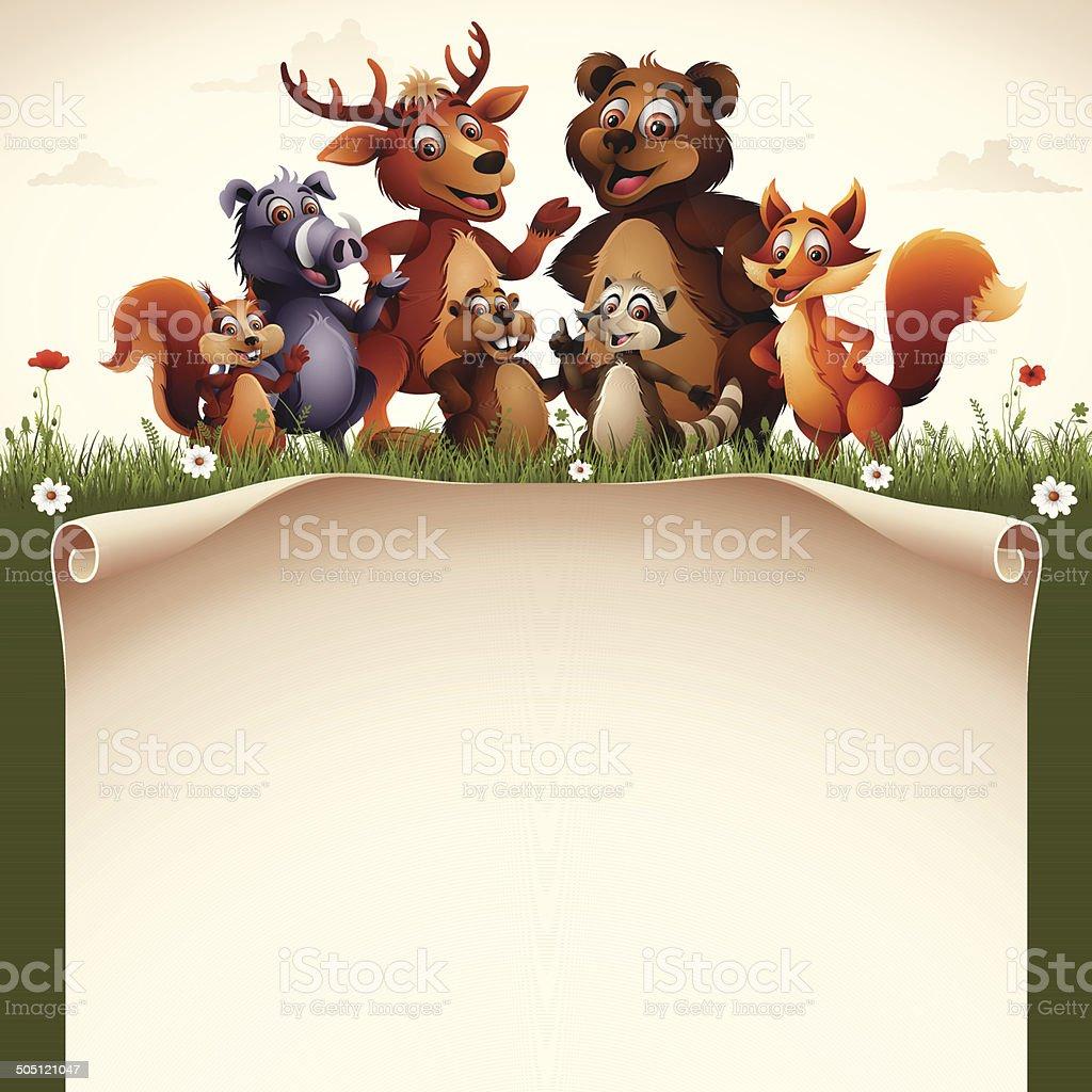 Wild Animals with Scroll vector art illustration