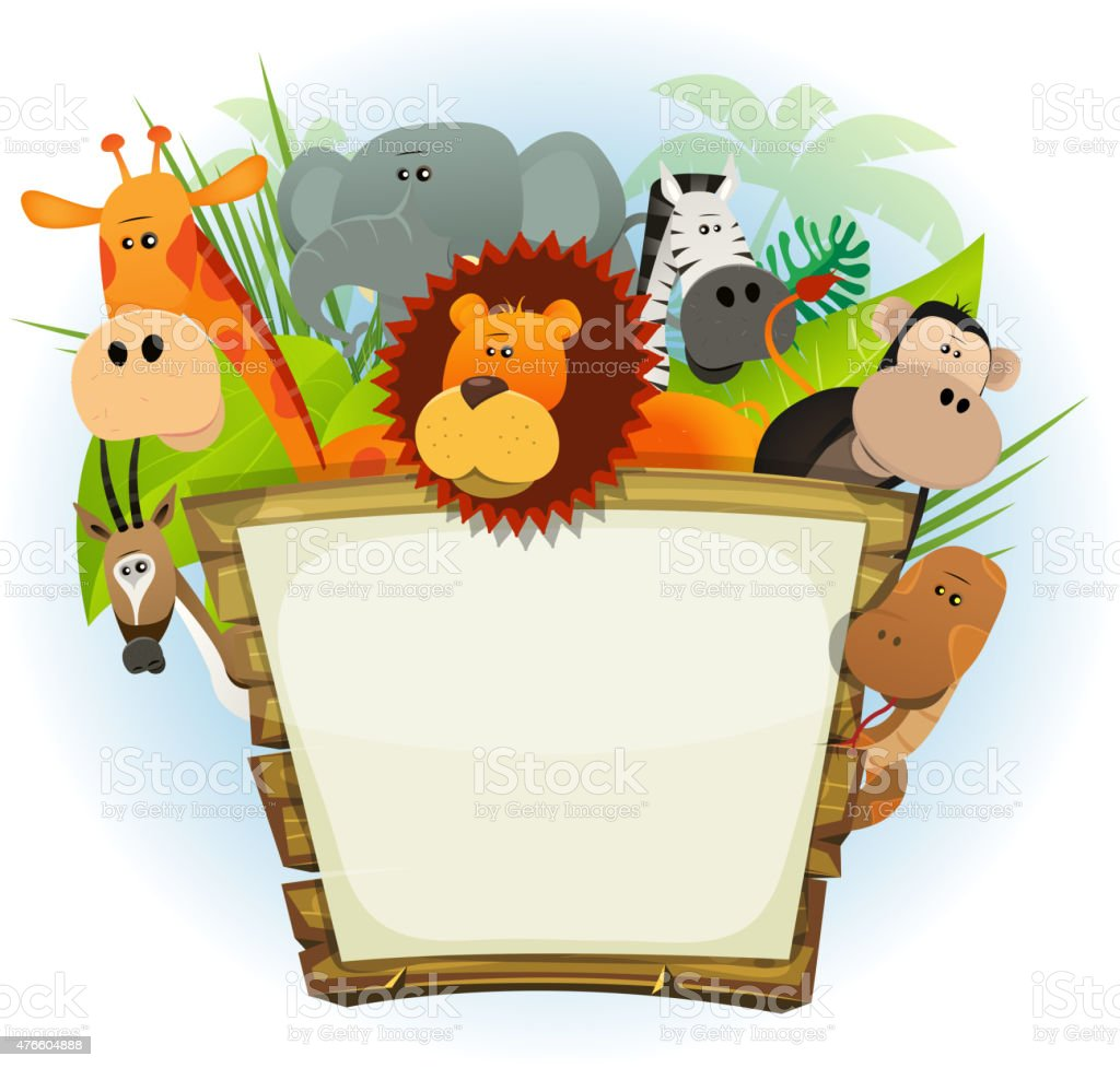 Vector illustration of a cute cartoon wild animals family from...
