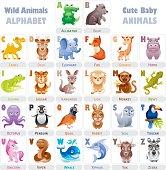Wild baby animals alphabet