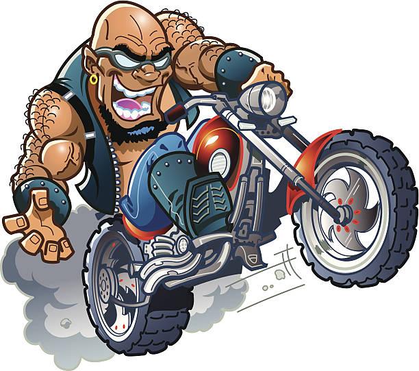 wild bald biker-typ - fahrzeug fahren stock-grafiken, -clipart, -cartoons und -symbole