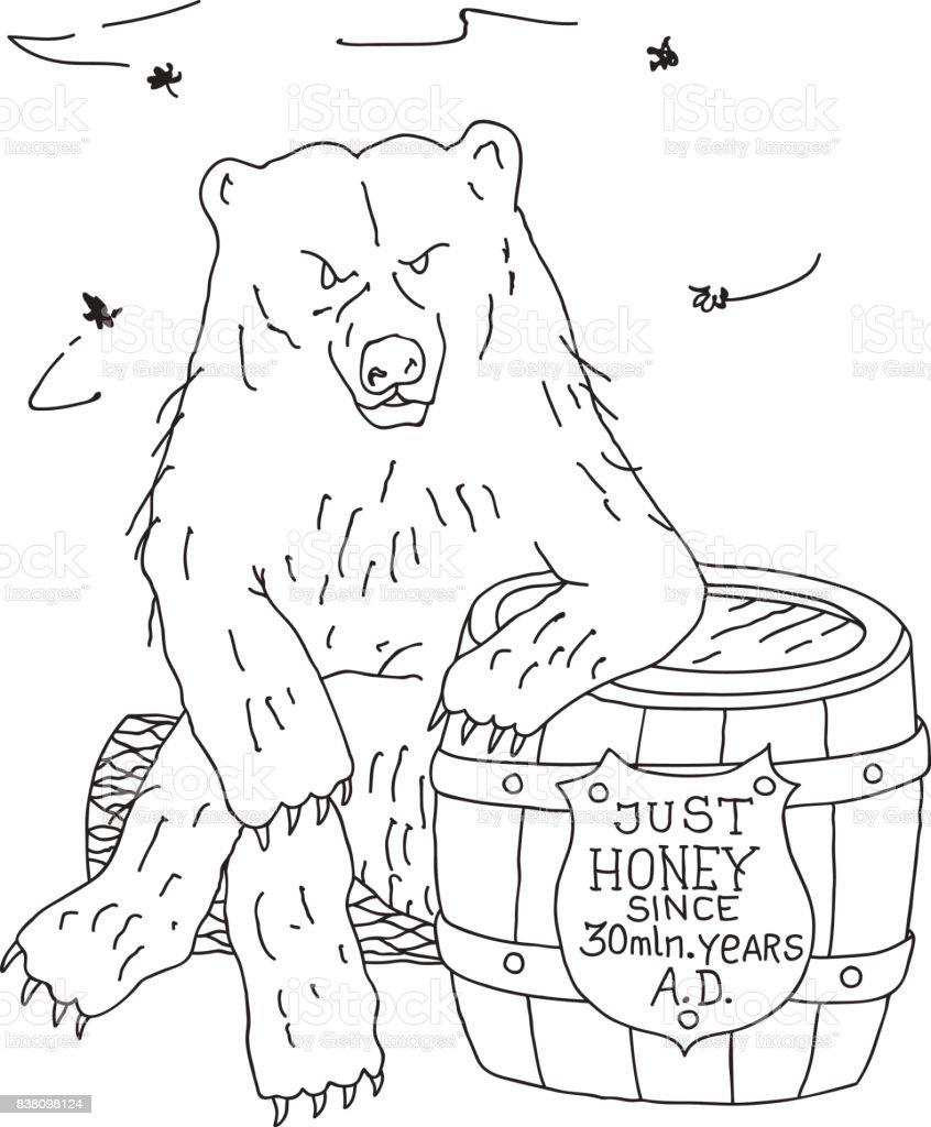 Wilde Bären Sitzen Auf Holzblock Stützte Sich Auf Honig Fass ...