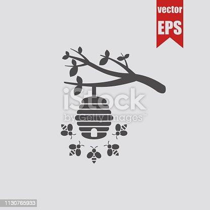 Wild bee hive icon.Vector illustration.